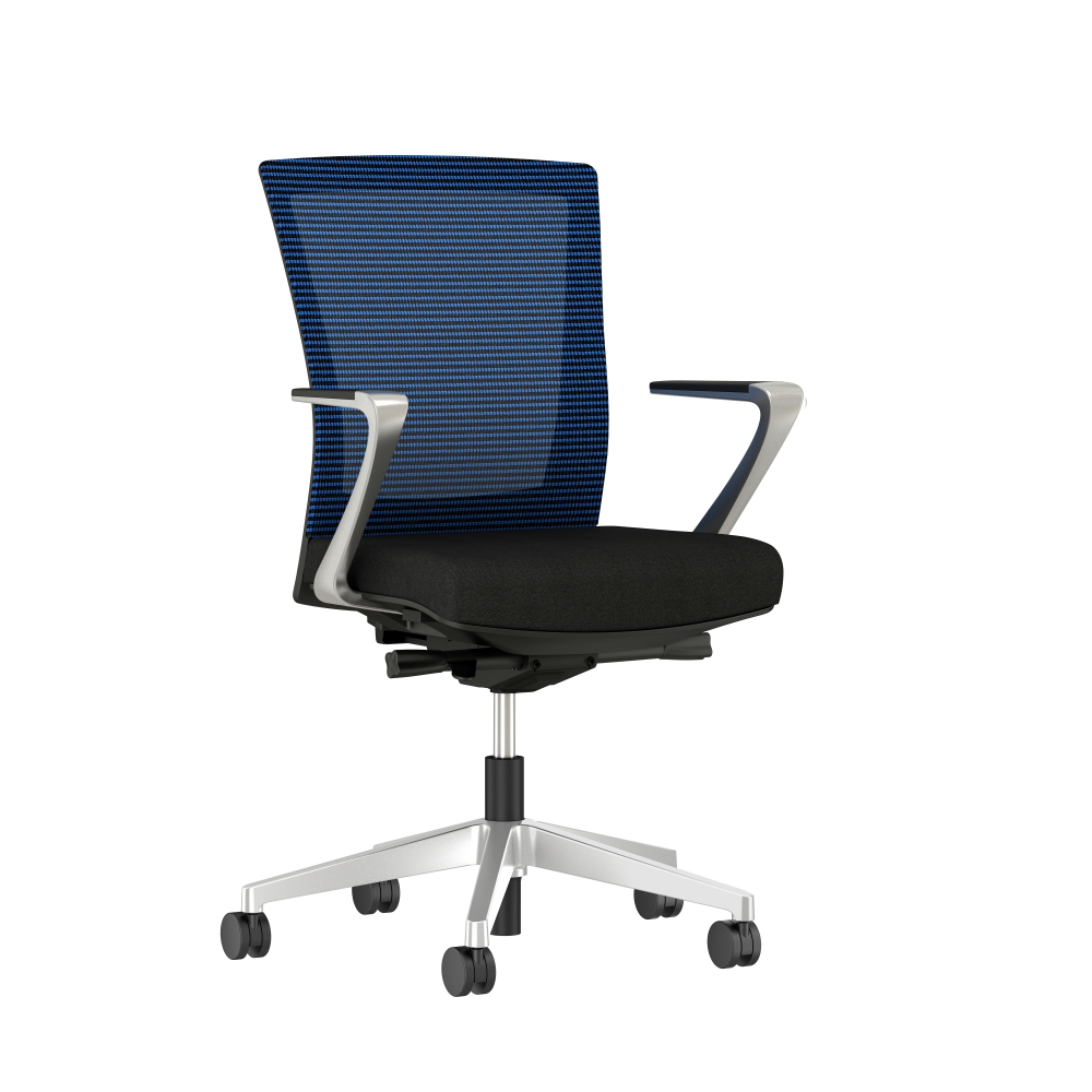 Preview of Upton with Aluminum Base, Fixed Arms, Black frame, Blue-black striped mesh with Alta Mirage Upholstery in Black, 3/4 view