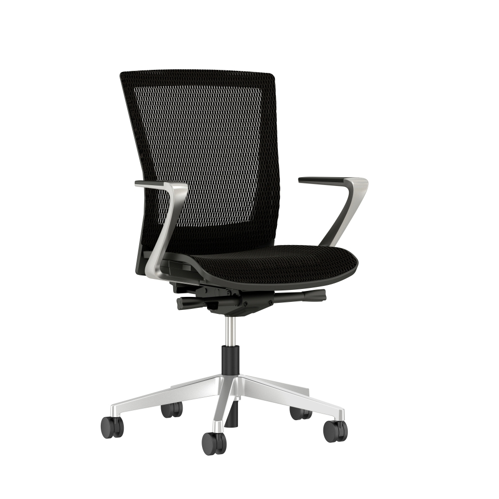 Preview of Upton with Polished Aluminum Base, Black Frame, Mesh Back and Seat with Fixed Arms