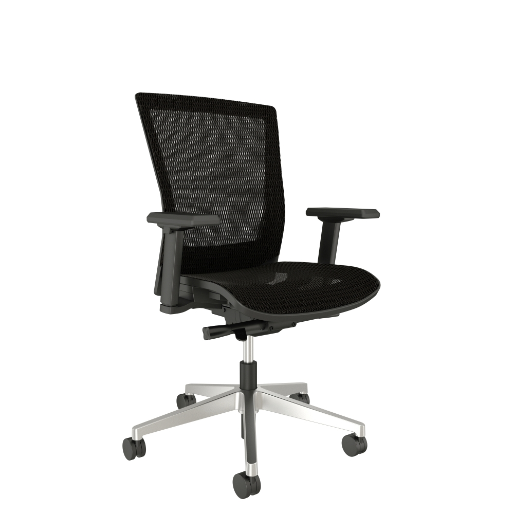 Preview of Upton Fully Mesh Chair with Polished Aluminum Base, Black Frame with Arms