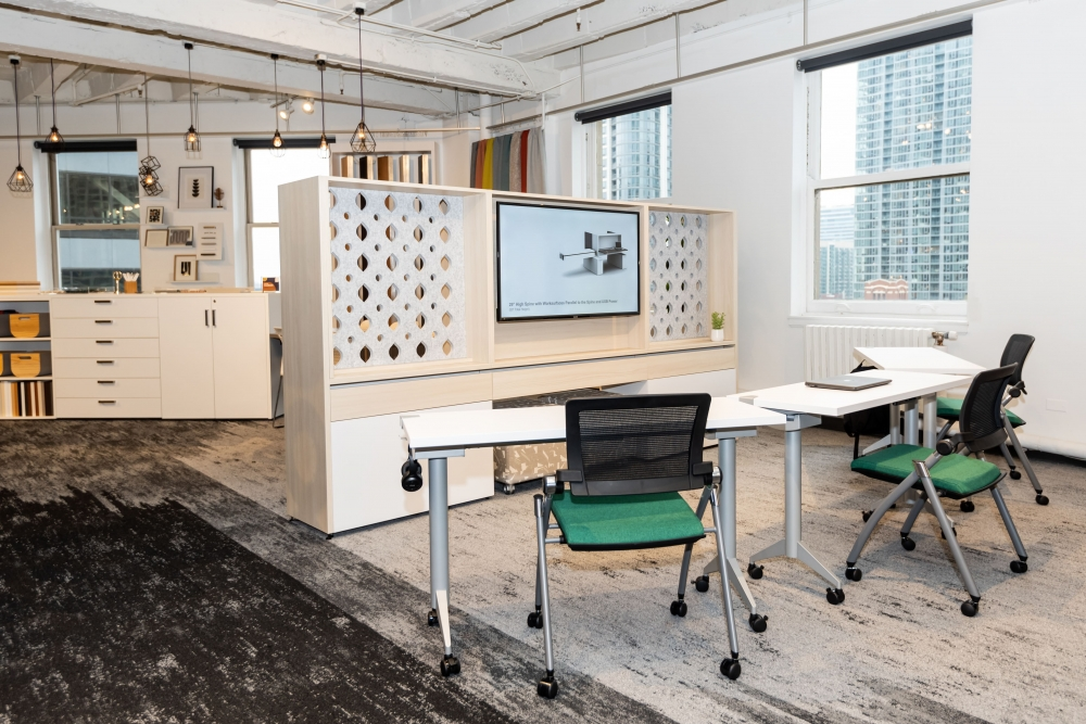 """Preview of NeoCon 2021 Calibrate Community 66"""" Workwall with Custom PET inserts and 18"""" Deep Day-to-Day Flip-top training tables"""