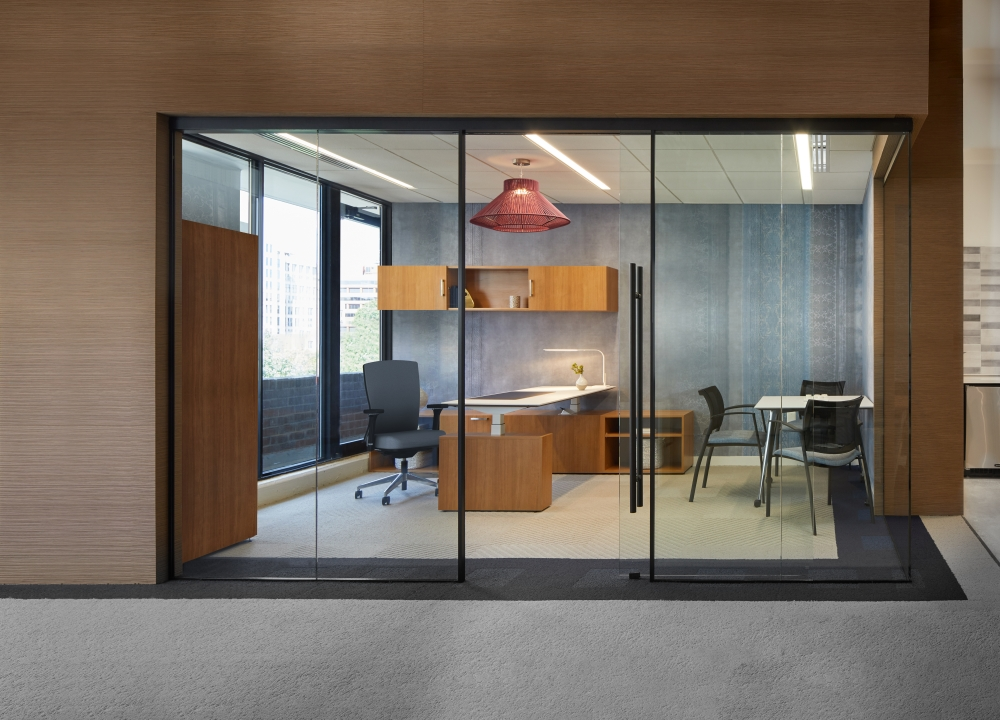 Preview of AIS Washington D.C. Showroom Private Office Space with Height Adjustable Calibrate, Natick and Grafton Seating