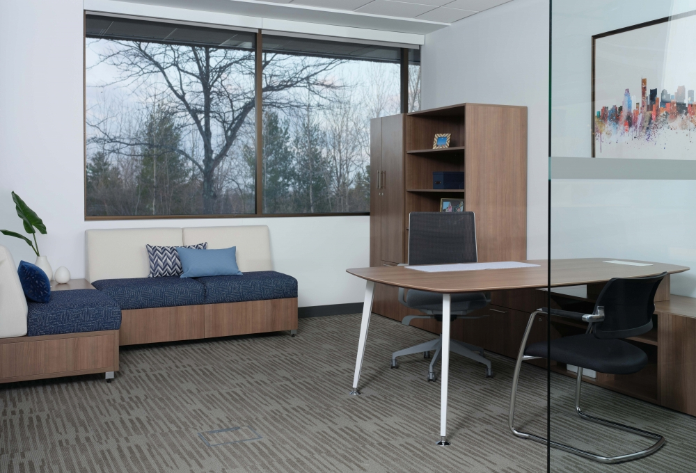 Preview of Calibrate Casegoods with Devens Seating and Side chair. Also shown with LB Lounge seating.