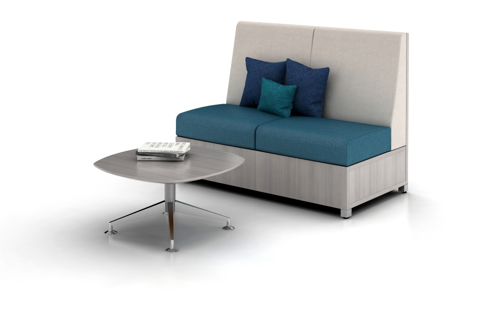 Preview of LB Lounge with solid base, Shown with Day-to-Day Occasional Table with Aluminum base