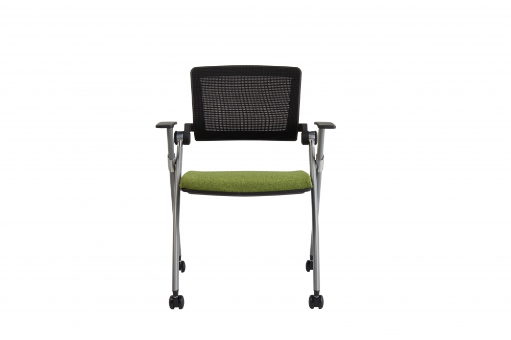 Preview of Stow Multipurpose Chair with Black Mesh and Camira Blazer Camphill Seat; front view