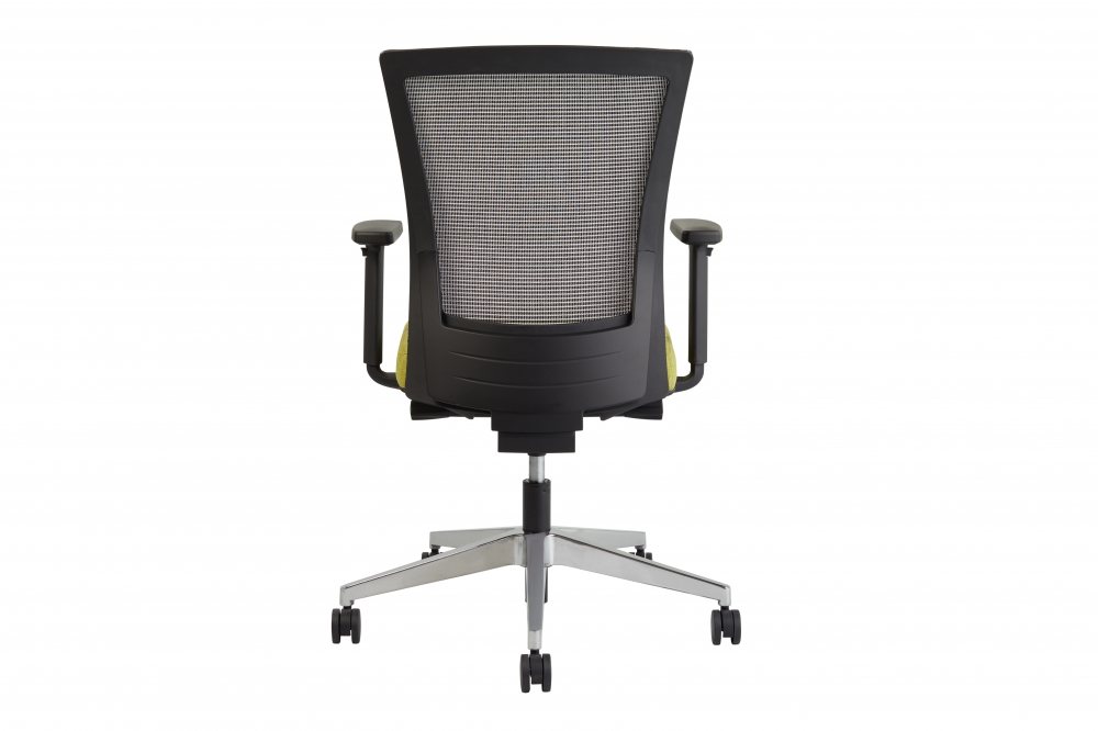 Preview of Upton task chair back view, white-black striped mesh