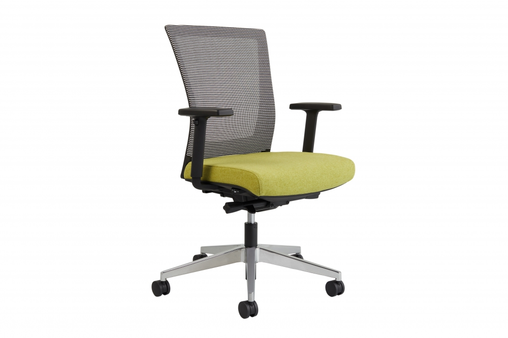 Preview of Upton task chair with aluminum base, white-black striped mesh back, Camira Blazer Dunhurst seat, 3/4 view