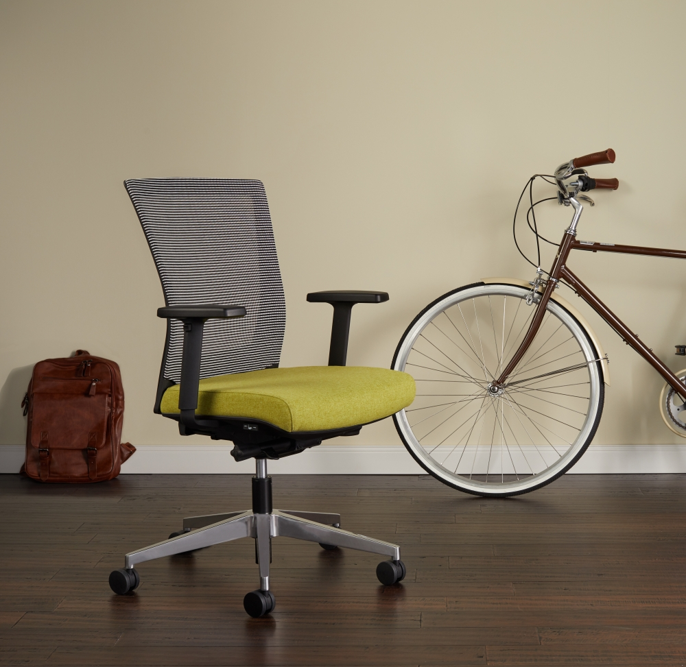 Preview of Upton Task Seating Brochure Cover, White-black Striped Mesh and Camira Dunhurst seat