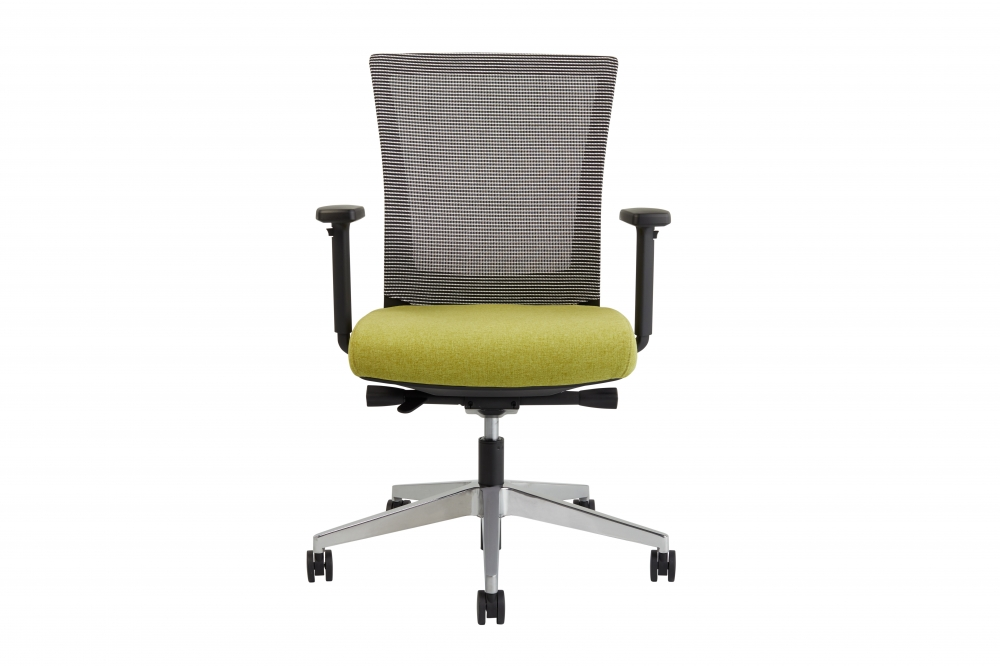 Preview of Upton task chair with aluminum base, white-black striped mesh back, Camira Blazer Dunhurst seat, front view