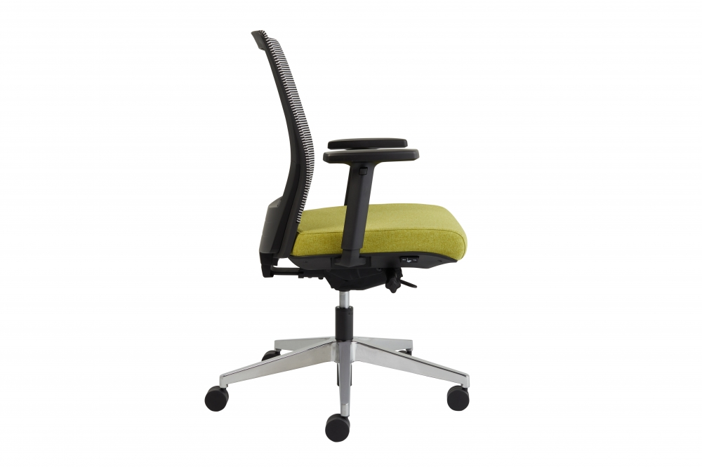 Preview of Upton task chair with aluminum base, white-black striped mesh back, Camira Blazer Dunhurst seat, side view