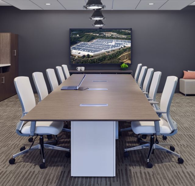Calibrate Conference Table with  Fully Upholstered Natick Seating