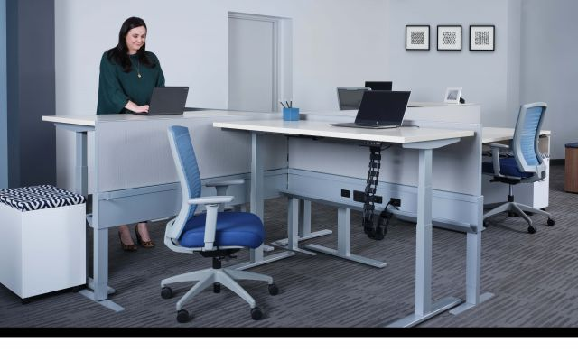 Day-to-Day PowerBeam with Height Adjustable Tables at standing height
