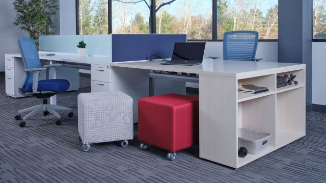 PowerBeam with L Series Files and Calibrate bookcase support, shown with Natick Seating