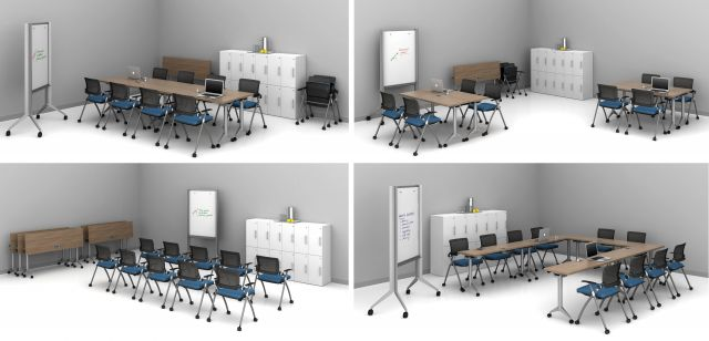 """Day-to-Day 18"""" Flip-Top Tables and Stow seating shown 4 ways in one room"""
