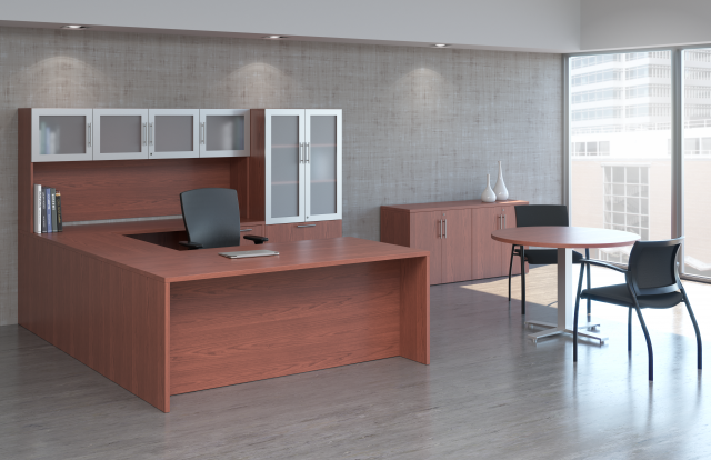 Calibrate Casegoods Private Office with Day to Day Side Table and Grafton Side Seating
