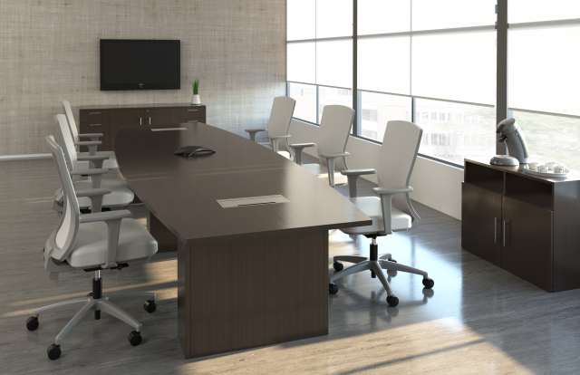 Calibrate Conferencing with power; shown with Natick Seating