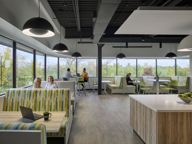 AIS Headquarters Cafe with Custom Millwork Island and LB Lounge