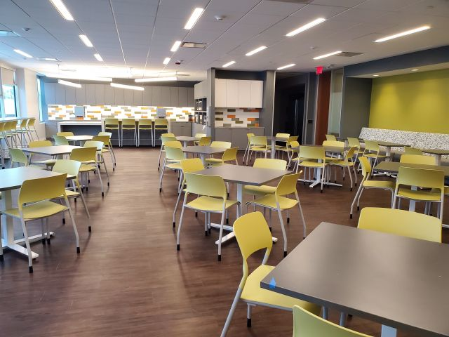 Client Site, Day-to-Day Cafe Tables with Pierce Stack Seating