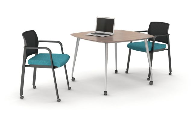 Day to Day Square Table with Reverse Knife Edge and Slim Polished Aluminum Legs with Castors and Paxton Seating