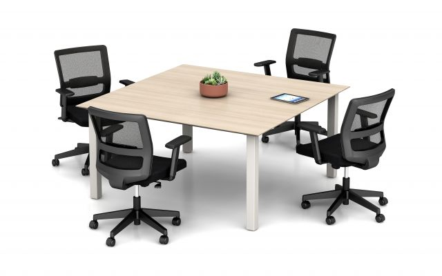 Day-to-Day Square Table with Reverse Knife Edge and  Post Legs, shown with Revere Seating