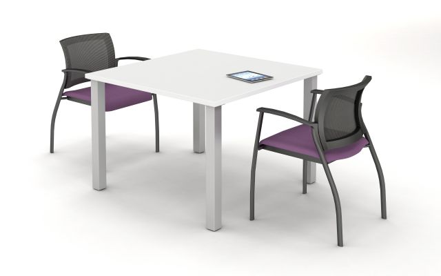 Day to Day Square Table with 2mm edge and Square Post Legs, shown with Grafton Side Seating