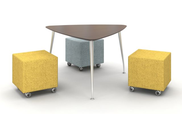Day to Day Triangle Top Table with Slim Legs in Polished Aluminum with Volker Seating