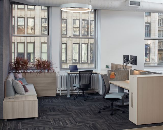 Aloft Height Adjustable Benching Workstations with LB Lounge Seating , Upton Task Seating and Calibrate Pullout Storage