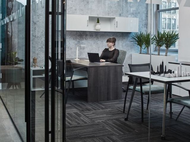 Calibrate Series Casegoods Private Office with Mobile Table, Wall Mounted Storage and Grafton Side Seating