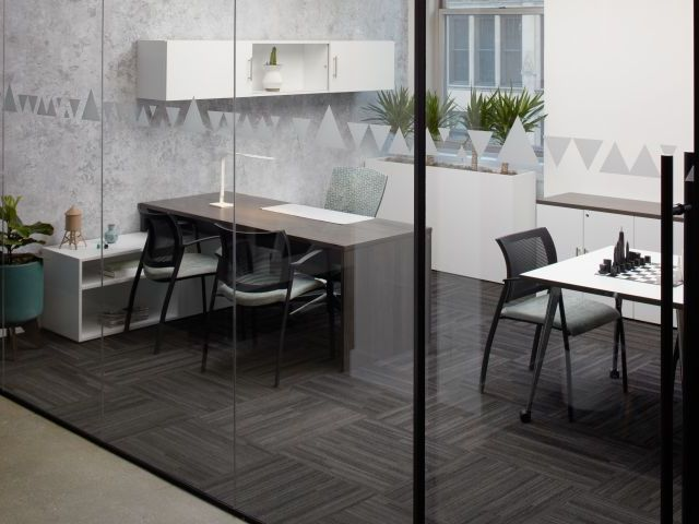 Calibrate Series Casegoods Private Office with Wall Mounted Storage, Mobile Table and Grafton Side Seating