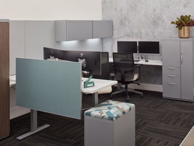Height Adjustable Workstations with Side Mount Privacy Panel, Steel Storage and Devens Task Seating