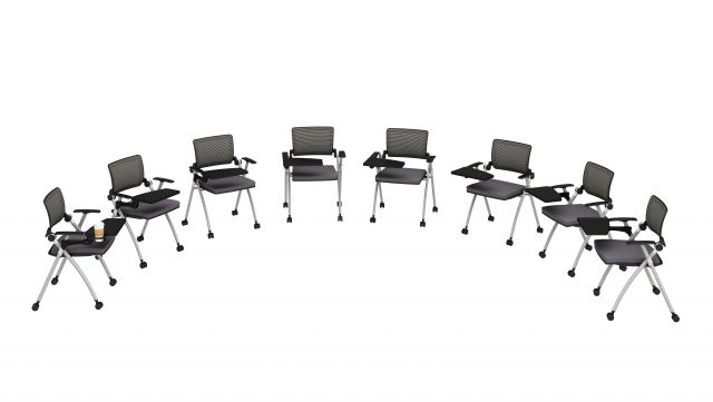 Stow Multipurpose Seating with Tablets up and Casters, optional cupholder shown on far left