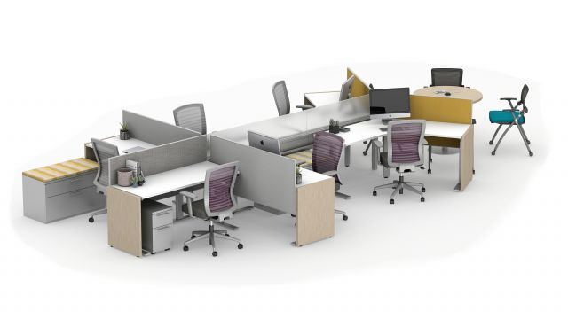 Day-to-Day PowerBeam Six Workstation with Height Adjustable Tables