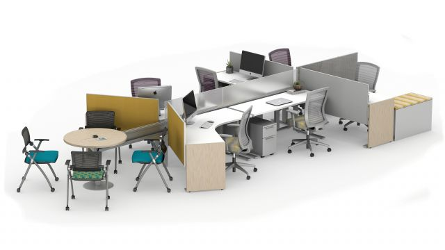 Day-to-Day PowerBeam Six Workstations with Height Adjustable Tables