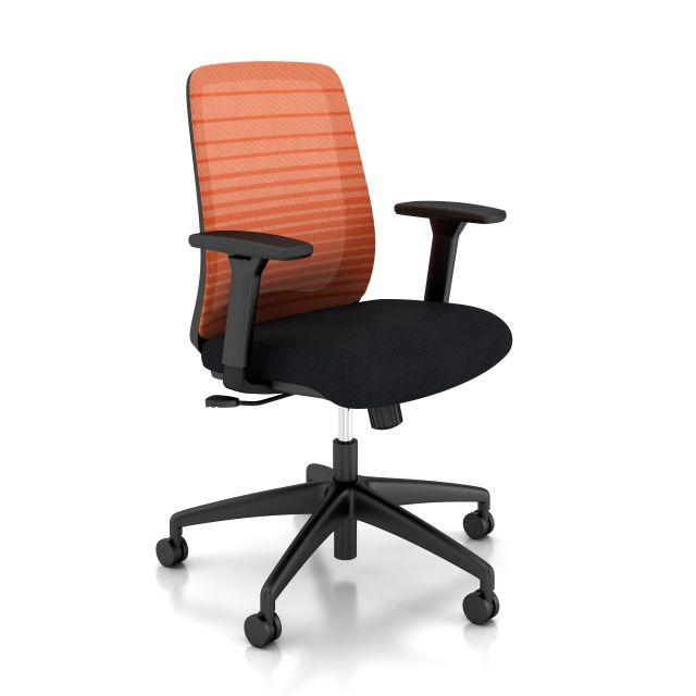 Bolton Mid back with Graduated/Striped Orange Mesh and Standard black fabric seat