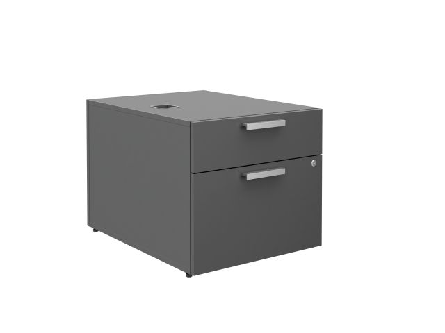 "Calibrate Series 30"" Deep Left Handed Height Adjustable Table Base with Box/File Storage in Storm"
