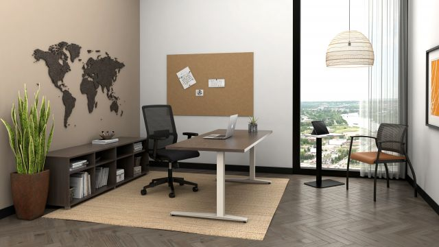 Day-to-Day C Leg Table with Essex Task and Grafton Side Seating, shown with Calibrate Bookcase