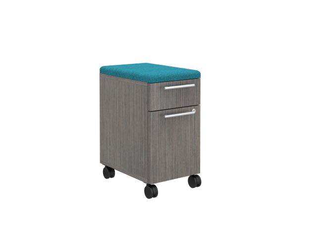 "Calibrate Series Storage 12"" B/F Pedestal with Casters and Fabric Seat"