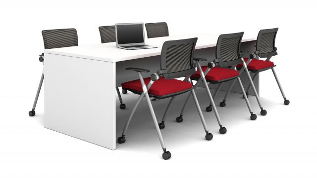 Calibrate End Panel Table with Stow Seating