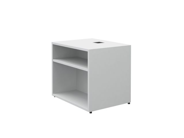 "Calibrate Storage Height Adjustable Table Base with Bookcase 24"" x 18"" in Chalk"