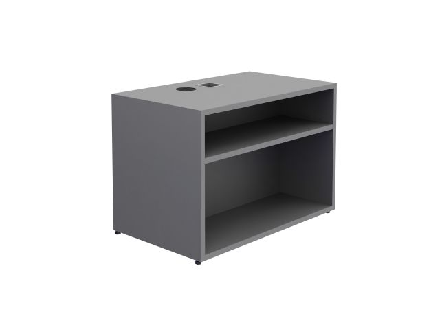 "Calibrate Storage Height Adjustable Table Base with Bookcase 24"" x 18"" in Absolute Acajou"
