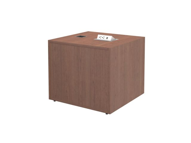 "Calibrate Storage 24"" X 24"" Left Handed Height Adjustable Table Base in Brazilwood with Pop-up Charger Dock"