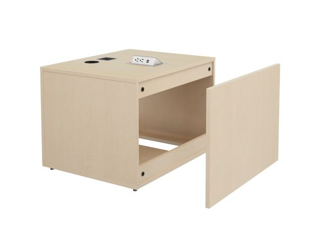 "Calibrate Storage 24"" X 30"" Left Handed Height Adjustable Table Base in Midwest Maple with Pop-up Charger Dock and Grommet for Power/Data access, Back View"