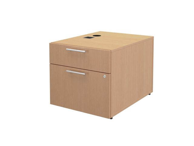 "Calibrate Series 30"" Deep Left Handed Height Adjustable Table Base with Box/File Storage in Midwest Maple"
