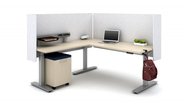 """Calibrate Height Adjustable 30"""" and 24"""" Tables with PET L Wrap Screens, Workrail, bag hook and Clamp-on Power, shown with Calibrate Hidden Drawer Pedestal"""
