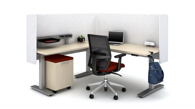 """Calibrate Height Adjustable 30"""" and 24"""" Tables with PET L Wrap Screens, Workrail, bag hook and Clamp-on Power, shown with Devens Task Seating and Calibrate Hidden Drawer Pedestal"""