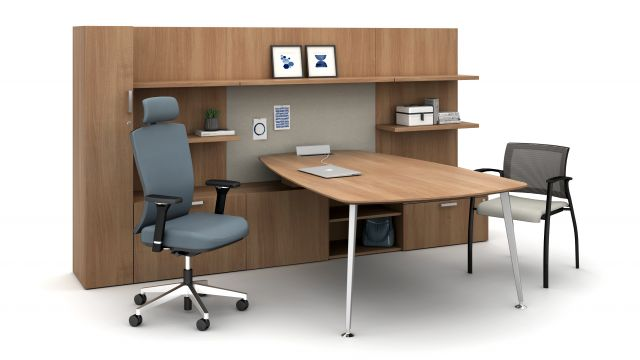 Calibrate Casegoods Private Office with L Shelf, Natick Executive Seating with Headrest and  Grafton Seating