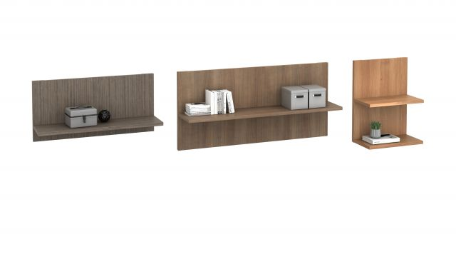 Calibrate Casegoods L Shelf Variety Pack: Single and Double Shelves shown