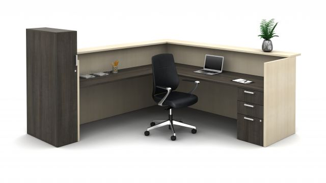 Calibrate Laminate Casegoods Reception Station, interior view; Auburn seating