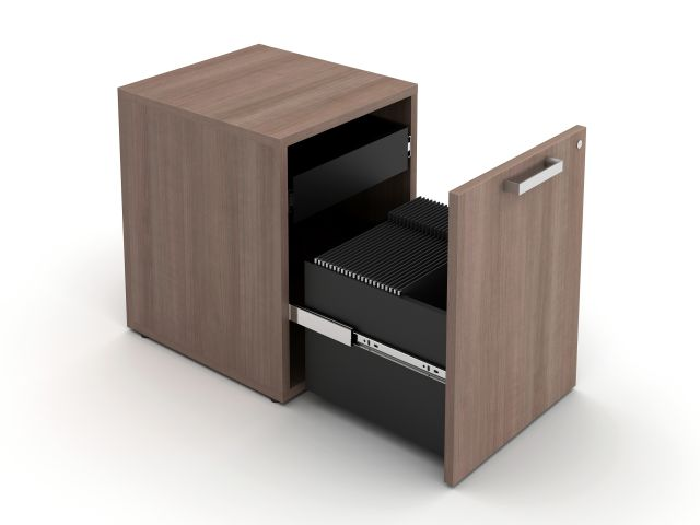 Calibrate Hidden Drawer Pedestal, shown with rectangle pull in Aimtoo Savatre