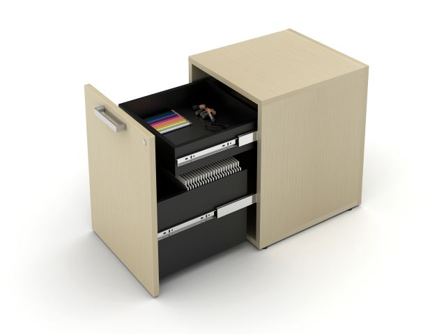 Calibrate Hidden Drawer Pedestal with rectangle pull, shown in Maritime Dune