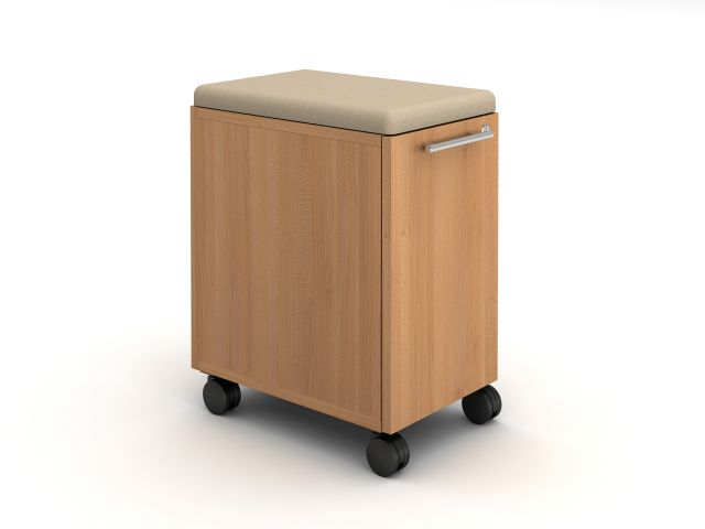 Calibrate Hidden Drawer Pedestal with Cushion on wheels with bar pull, shown in Recon Oak